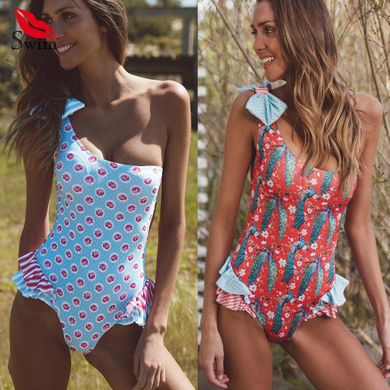 official photos a927a eddf2 Bademode Frauen Einteiliger Badeanzug mit Rüschen Schulter Bikini Push Up  Thong Badeanzug Badpak Badeanzug Für Frauen