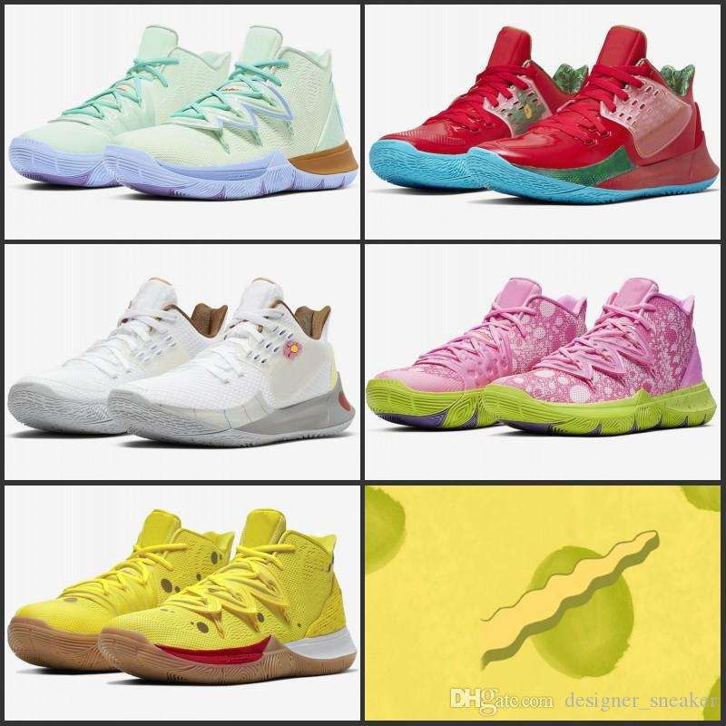 save off 569d4 048d1 New Kyrie Sponge Bob Men Basketball Shoes 5s Trainers Kyrie Irving 5  Squidward Mountain Oreo Friends Patrick Sports Sneakers Size 40-46