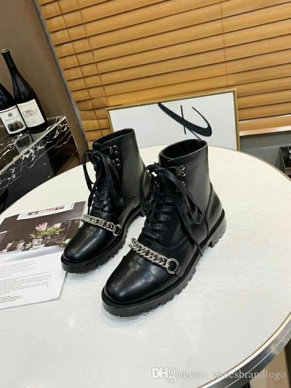 2019 Collection spring fall womens Ladies black REAL Leather design SHORT BOOTIES Tassel Metal Chains flat heels Military Casual BOOTS