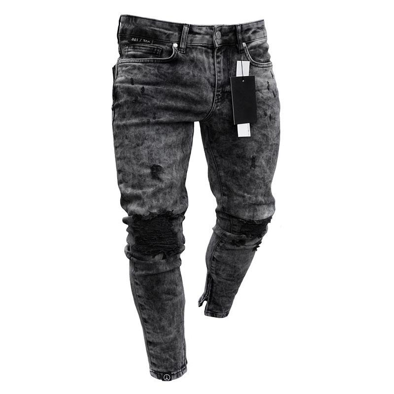 2019 spring and summer hot sale new men's skinny jeans snowflake casual Slim zipper pants men's jeans