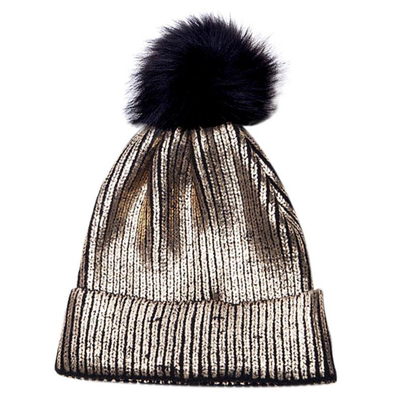 85f934a0e6d0a Unisex Winter Warm Cuffed Ribbed Knitted Hat Vertical Stripes Metallic Gold  Coated Glitter Crochet Stretchy Beanie Cap Beanie Hats For Men Black Beanie  From ...