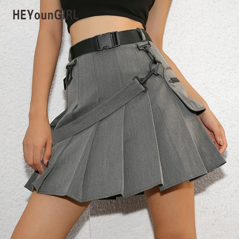 0815a0871 Heyoungirl Casual Faldas cortas para mujer Otoño Coreano Harajuku Falda  plisada Mini Falda de cintura alta Pantalones cortos Señoras Preppy japonés  ...