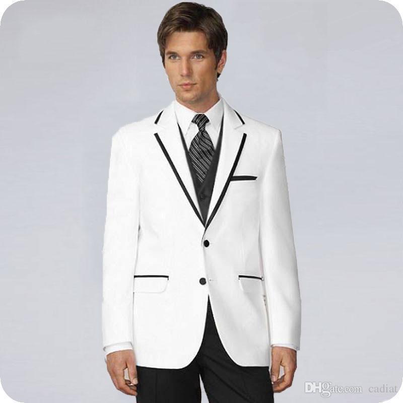 Acheter Nouveau Mode Ivoire Costumes De Mariage Hommes Noir Cravache Revers  Marié Smokings Beau Meilleur Homme Blazers 3 Pièce Mince Fit Garçon  D honneur ... 2f3559dea8e