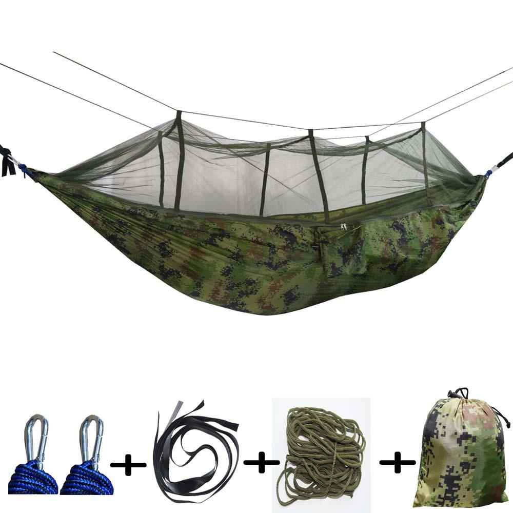Couples Portable Hammock Outdoor Nylon Hanging Hamak Garden Swing Chair Sleeping Travel Bed with Mosquito Net Parachute