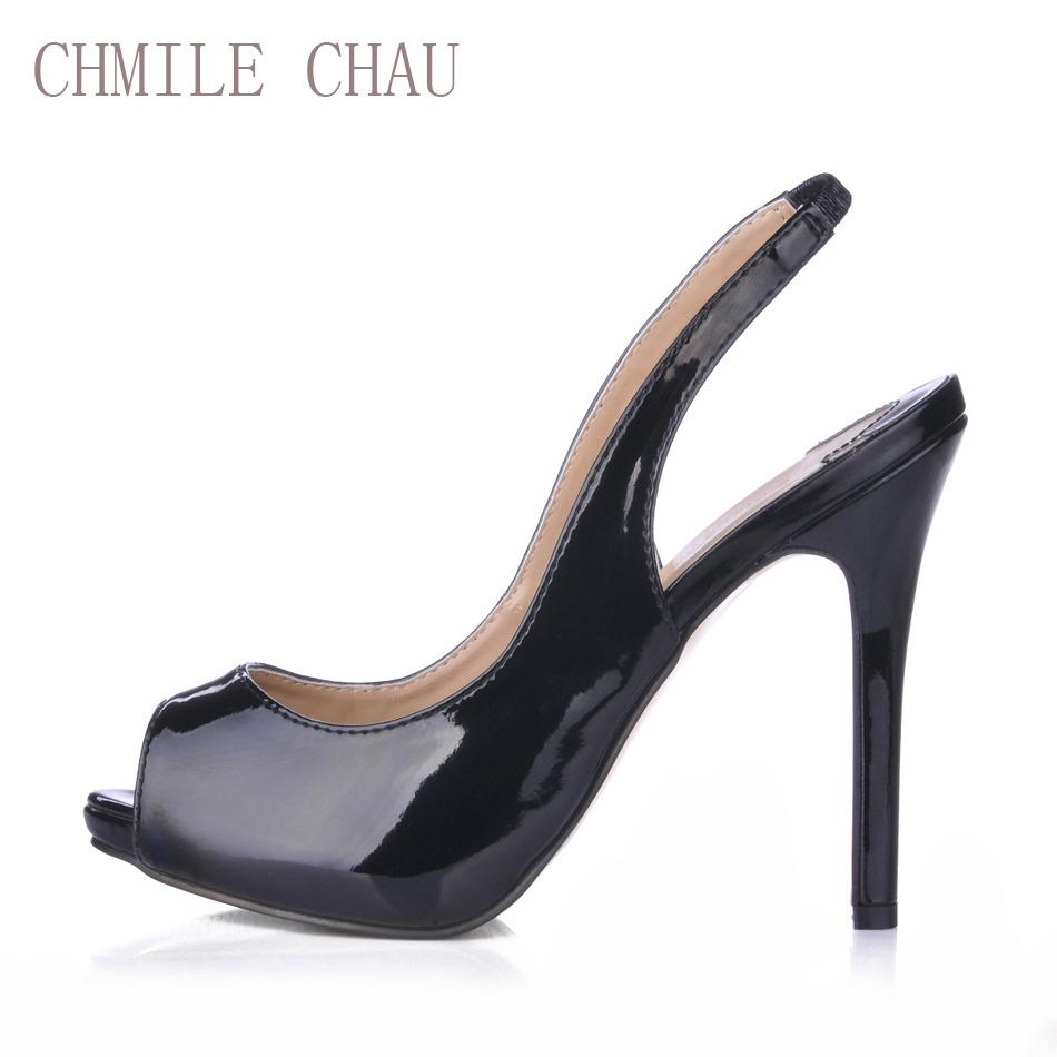 51b8105e4d06 CHMILE CHAU Sexy Dress Party Shoes Women Peep Toe Stiletto High Heels Sling  Back Ladies Pumps Zapatos Mujer Plus Sizes 10 S1 Mens Slippers Footwear From  ...