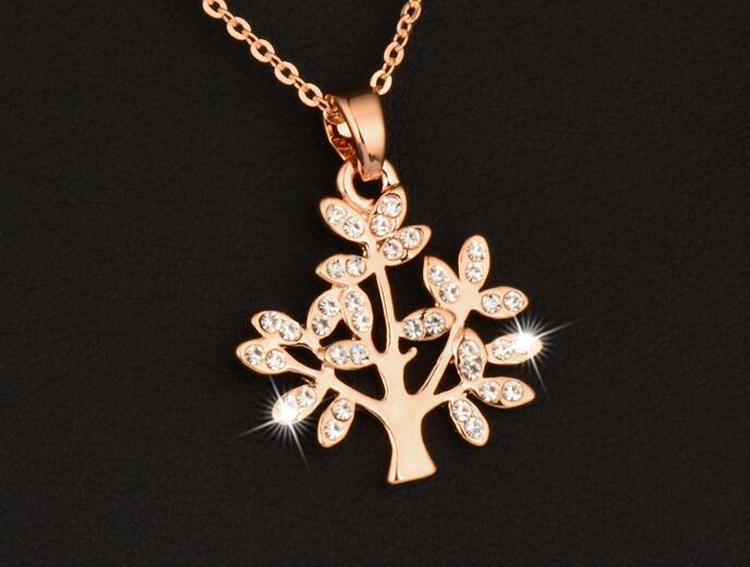 Fashion Wishing Tree Necklace Chain Women Silver/Gold Color Crystal Pendant Jewelry Collares XL469 SSD