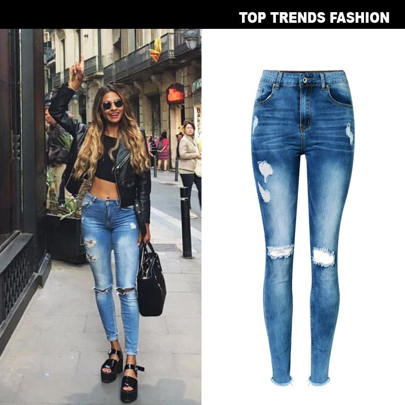 4a34ad80db682 2019 Zinwoco High Waist Jeans Stretchy Blue Tassel Ripped Jeans ...