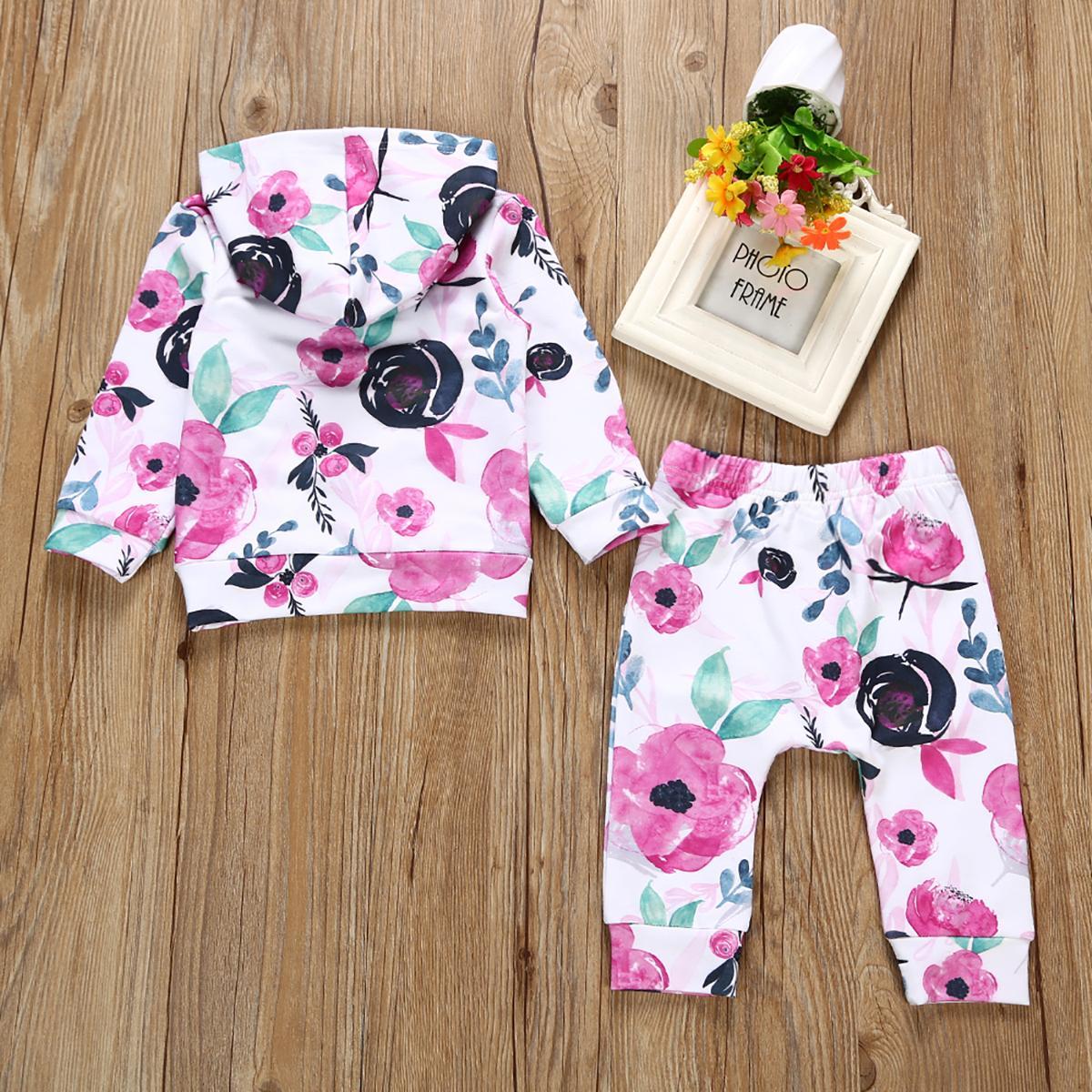 Neonate cappuccio maglietta bambino neonato vestiti del bambino Set bella Infant Tops + Long Pants Outfits Abbigliamento
