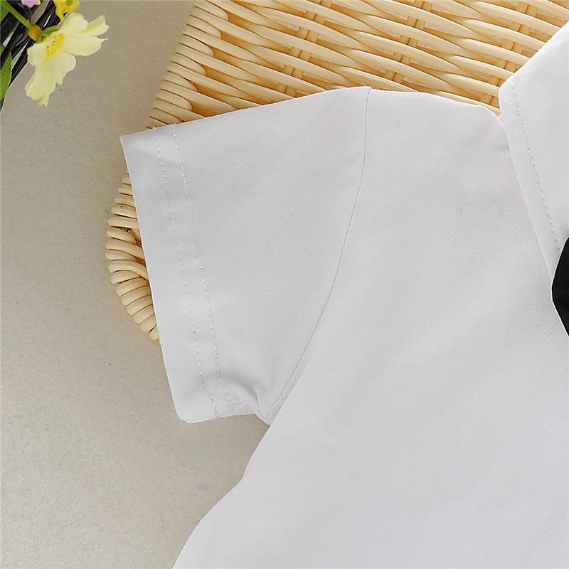 Niños bebé prendas clásicas Traje Caballero arco de manga corta del lazo camisa blanca Top + Uniforme Negro Pantalones cortos Escuela Pnats 2 piezas de 3M-3Y