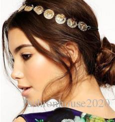 Cheap New Bohemian Gold Silver Women Metal Head Chain Headpieces Hair Jewelry Forehead Dance Headband Piece Wedding Accessories Hippie Crown