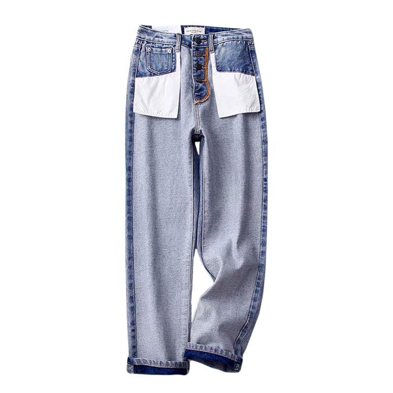 306c94863 Moda 2019 nuevo diseño de mujer de pierna ancha pantalones vaqueros  pantalones bolsillos casuales fuera de los pantalones vaqueros largos Denim  ...