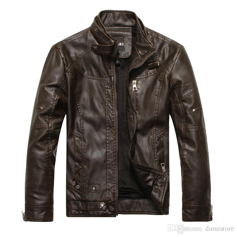 New arrive brand motorcycle leather jacket men men's leather jackets jaqueta de couro masculina mens leather coat Multi Zipper Faux Tops Coa