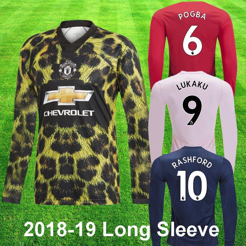 08c2d79fddca5 Compre 2018 19 Manchester United POGBA LUKAKU Camisa De Manga Longa De  Futebol RASHFORD LINGARD EA Camisa De Futebol Esportivo 2019 Top Quality  Full Mangas ...