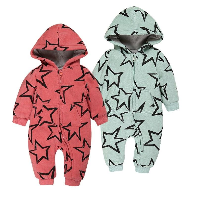 e67dc6b76cbd 2019 Newborn Baby Romper 2018 Winter Warm Star Printed Jumpsuit Infant Baby  Girl Clothes Thick Baby Boy Hoodies Clothing Bebe Roupas From Ebaby0964