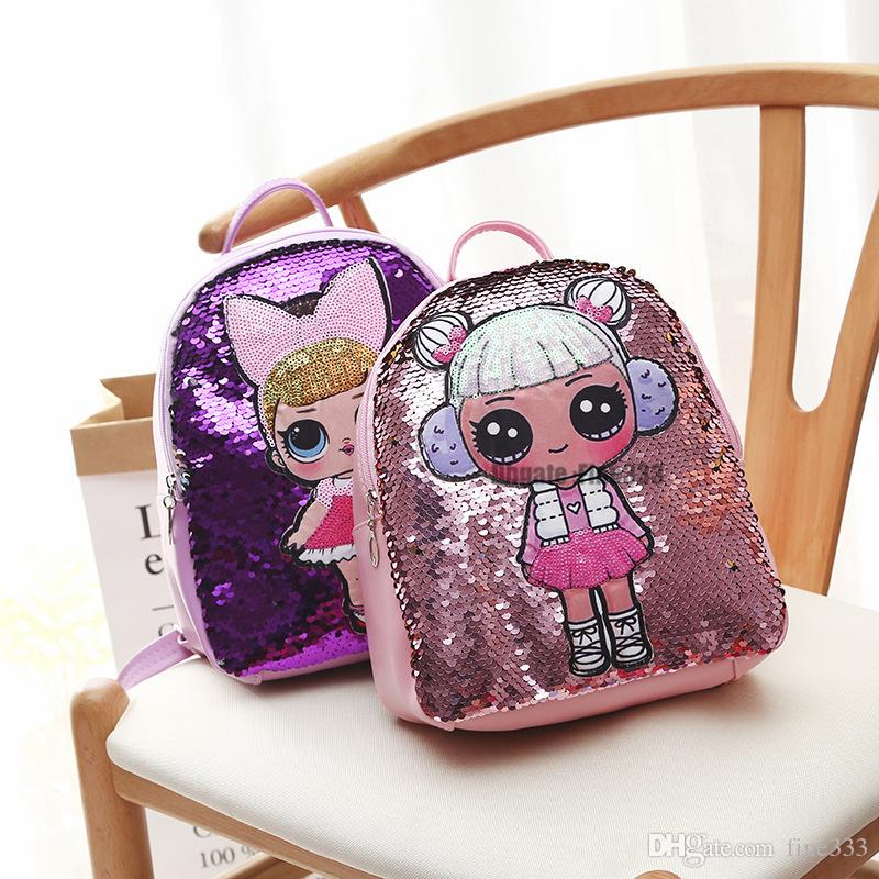 lol Backpack Cartoon Sequins Teenagers Anime Kids Student School Bag Travel Bling Rucksack Bags For Kid and Adult