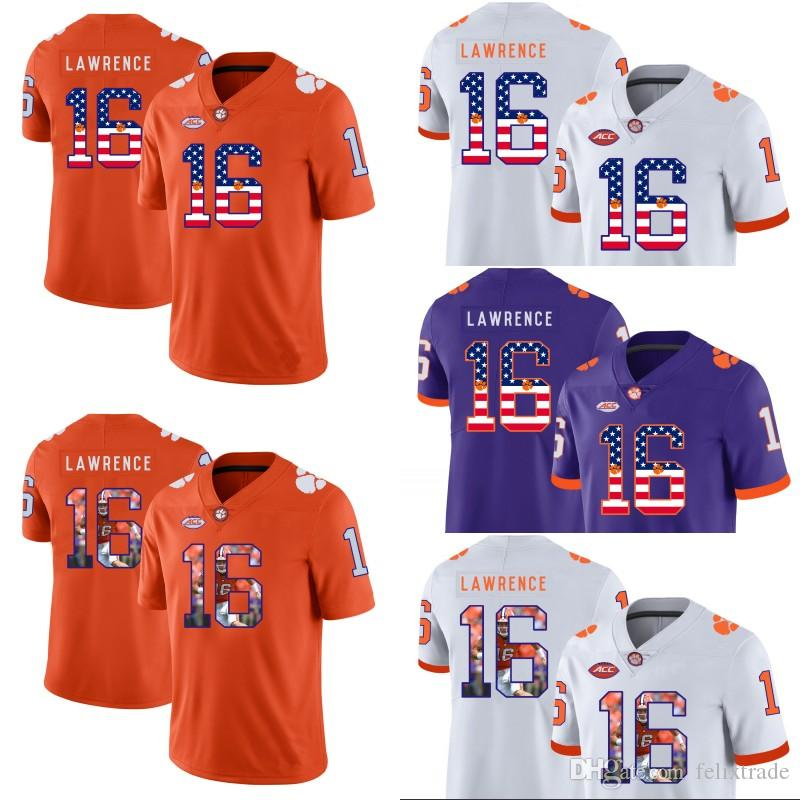 9f026b31c8a 2019 Clemson Tigers 16 Trevor Lawrence Clemson Football Jerseys Mens Women  Youth NCAA College Double Stitched American Flag Number From Felixtrade
