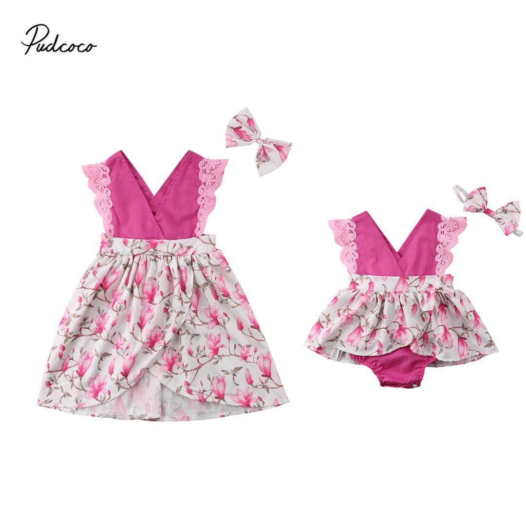 2019 Brand Summer Matching Baby Girls Little Sister Romper Dress Big Sister Dress Headband Outfit Cute Floral Lace Girl Clothes