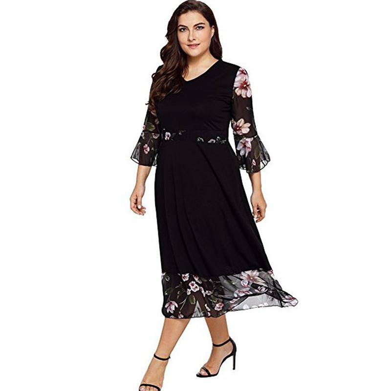9da015099ab4 Plus Size 5XL Floral Flower Print Boho Chiffon Dress Women Summer 2019 Sexy  3/4 Sleeve V Neck Dresses Big Size White Floral Sundress Green Dress  Juniors ...