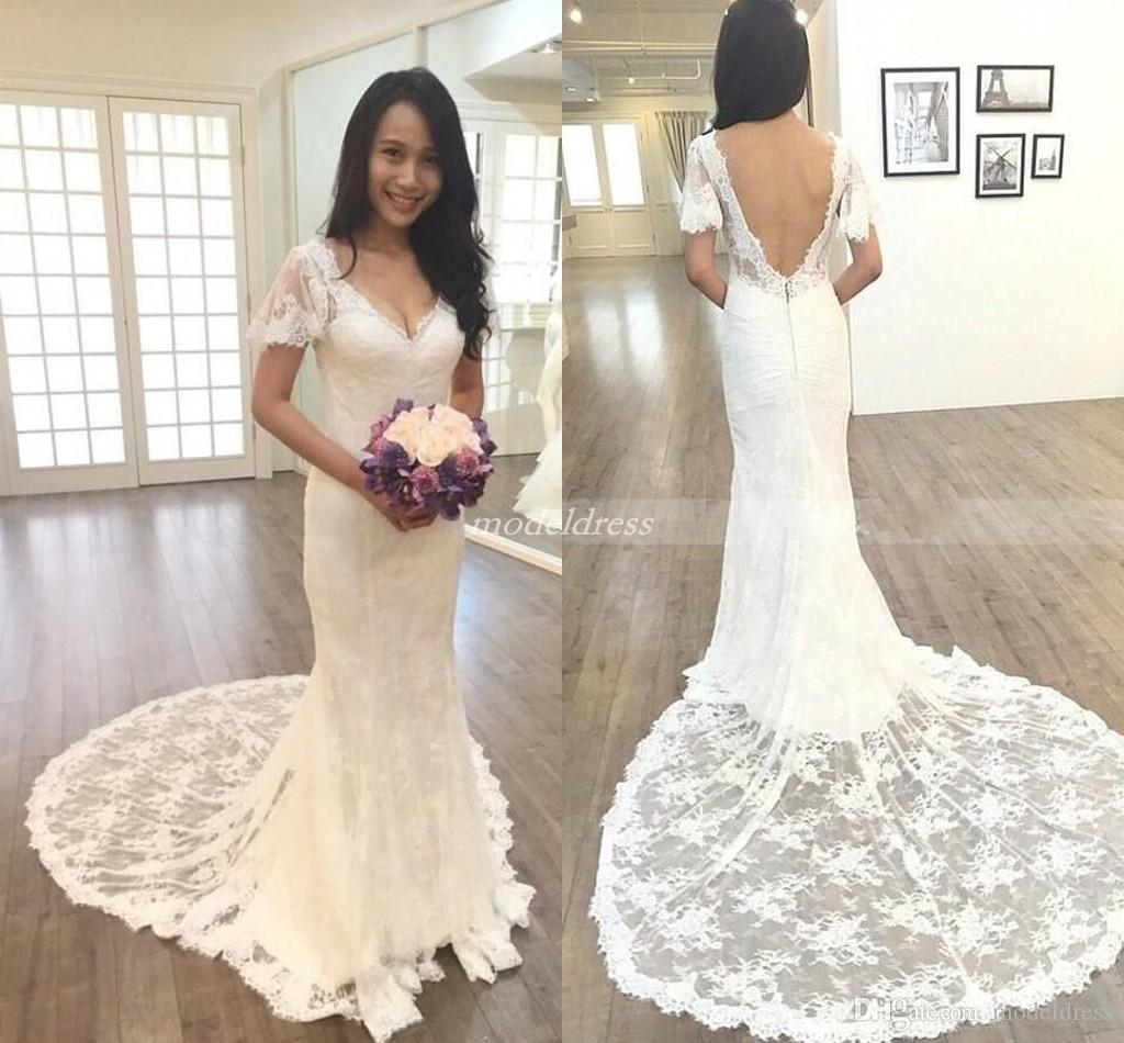 c721660a80821 Country Lace Ivory Mermaid Wedding Dresses 2019 V Neck Backless Sweep Train  Short Sleeve Lace Garden Beach Bridal Gowns Robe De Mariée Cheap Gowns  Cheap ...