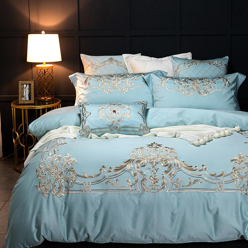 Europe Blue Pink Embroidery Luxury Bedding Set Queen Size Satin Long-staple Cotton Quilt Cover Linen 4 Pcs High-end Bedclothes