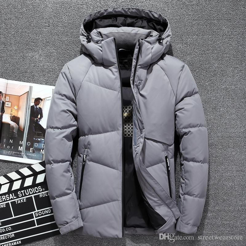 White Duck Down Jackets Men Warm Hooded Mens Winter Parkas Thick Men's Jackets Down Coat
