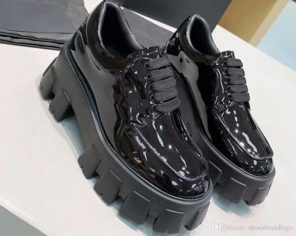 2019 spring fall womens Ladies black SHINY PATENT REAL Leather FLAT platform Lug rubber sole LACE UP Round toe SHORT BOOTIES BOOTS