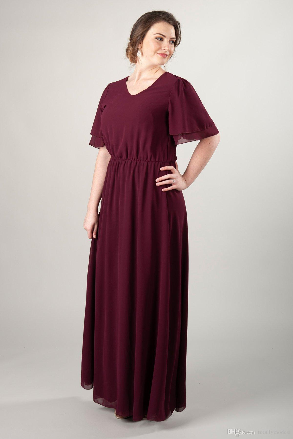 9984878e241 2019 Dark Red Chiffon Plus Size Long Modest Bridesmaid Dresses With Flutter  Sleeves A Line Floor Length Beach Wedding Party Dress Australia 2019 From  ...