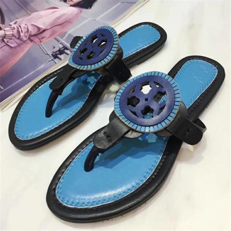 Summer Tory Women Designer Sandals T-strap Flip Flops Sandal Designers Womens Shoes Buckle Strap Lady Slides Girl Shoes New Tide