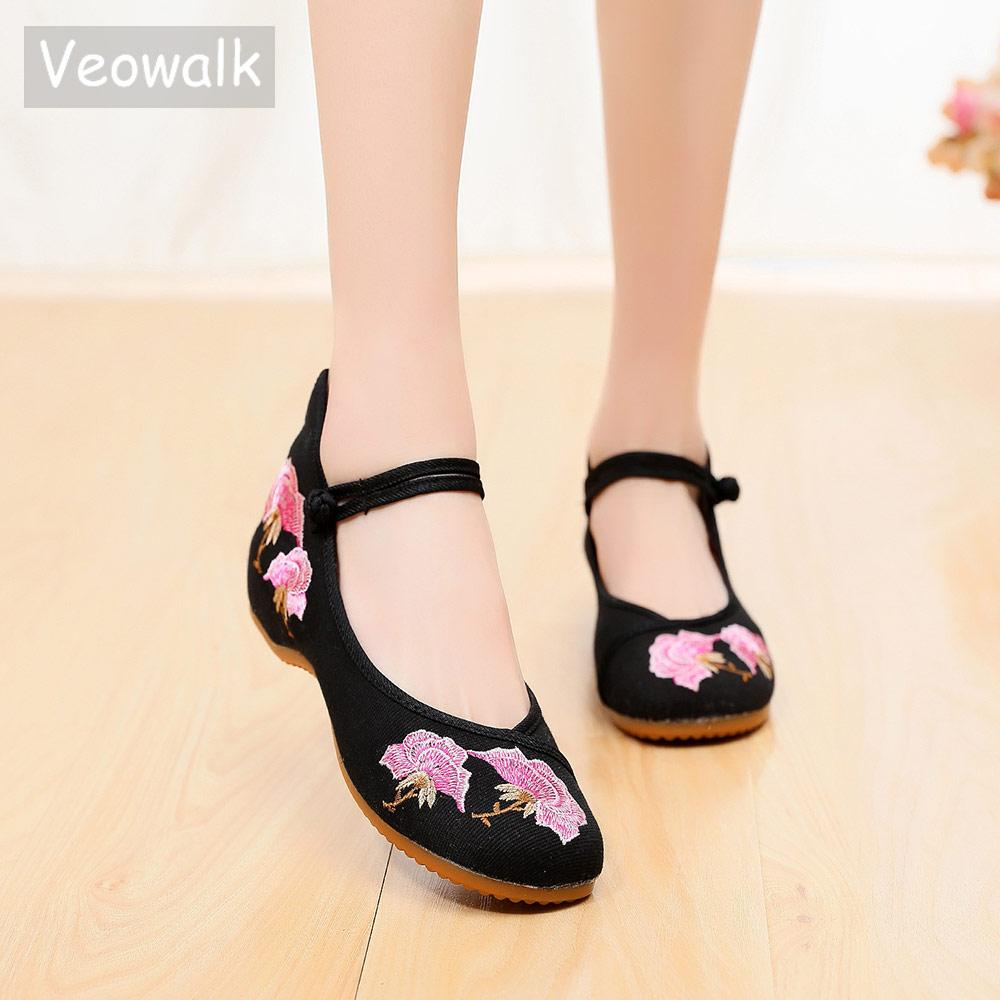 334058381bea Veowalk Vegan Women Canvas Embroidered Ballet Flats Handmade Retro Ladies  Casual Comfortable Ballerinas Walking Dancing Shoes Oxford Shoes Tennis  Shoes From ...