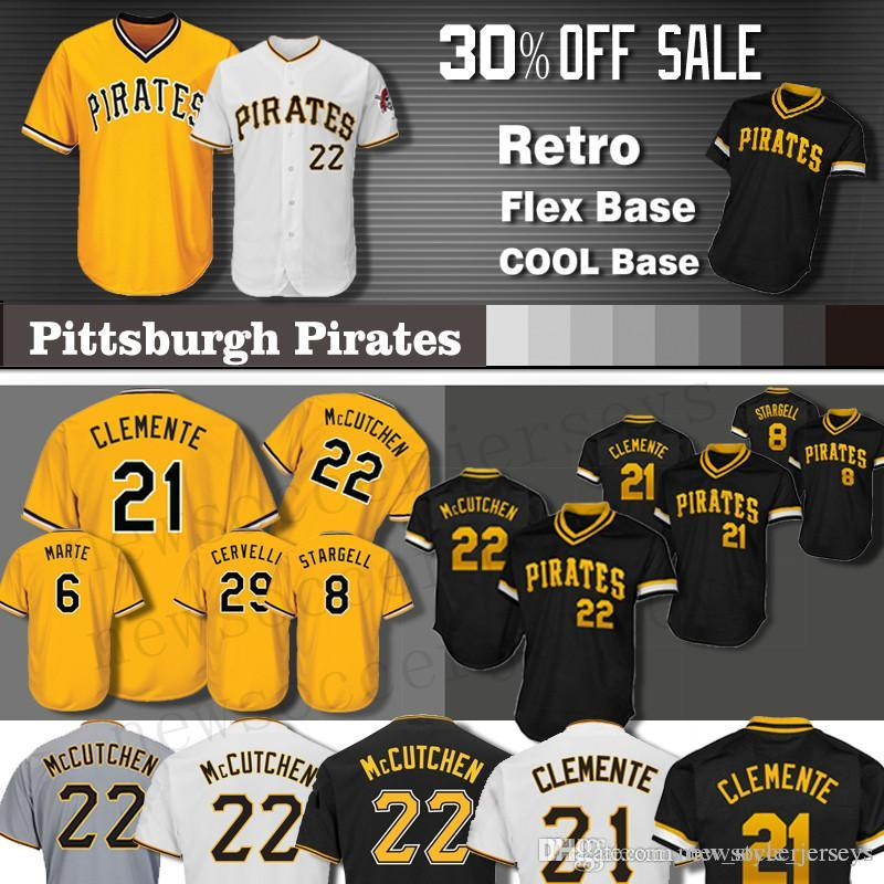best website d99e2 e6f6c Pirates jersey Pittsburgh 1 Roberto Clemente Men 22 Andrew Stargell  Majestic 29 Francisco Cervelli 6 Starling Marte Baseball Jerseys Kent