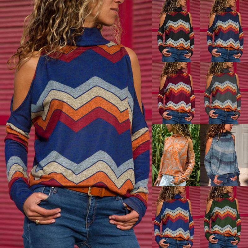 4b13f22e799a38 High Collar Off Shoulder Long Sleeve Tops Geometric Printed Top Women  Fashion Spring Clothings Drop Shipping In T Shirts T Shirts For From  Cndream