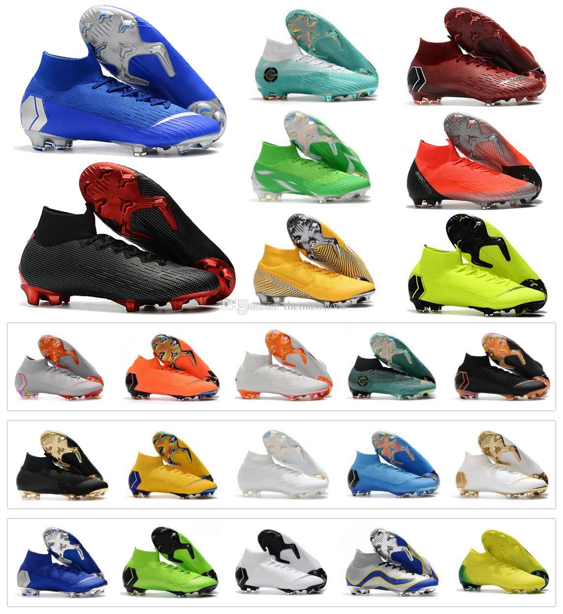 bae8803a6 2019 Hot Mercurial Superfly VI 360 Elite FG KJ 6 XII 12 CR7 Ronaldo Neymar  Mens Women Boys High Soccer Shoes Football Boots Cleats Size 35 45 From ...