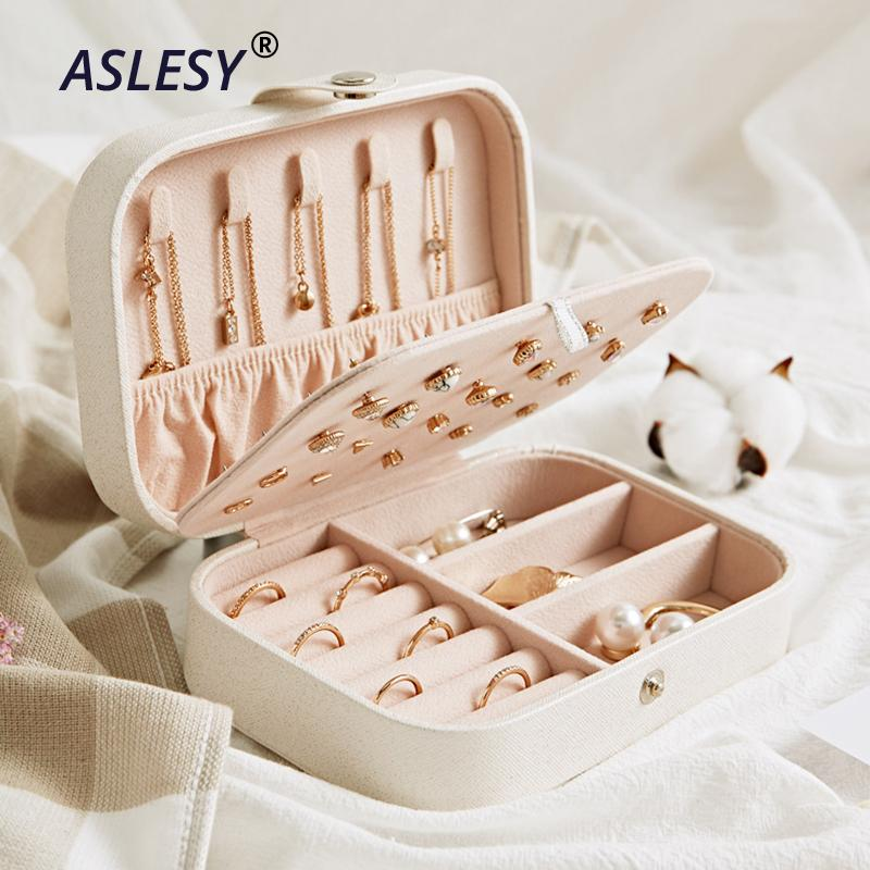 Portable Travel Jewelry Leather Boxes Three Layers Necklace Earring Storage Organizer Cosmetics Beauty Accessories Case Display J190718