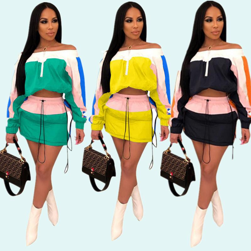 Patchwork Women Sun-protective Tracksuit Summer Outfits Long Sleeve Shoulder Out Crop Top Jacket Short Dress Sportswear Street Suit A3252