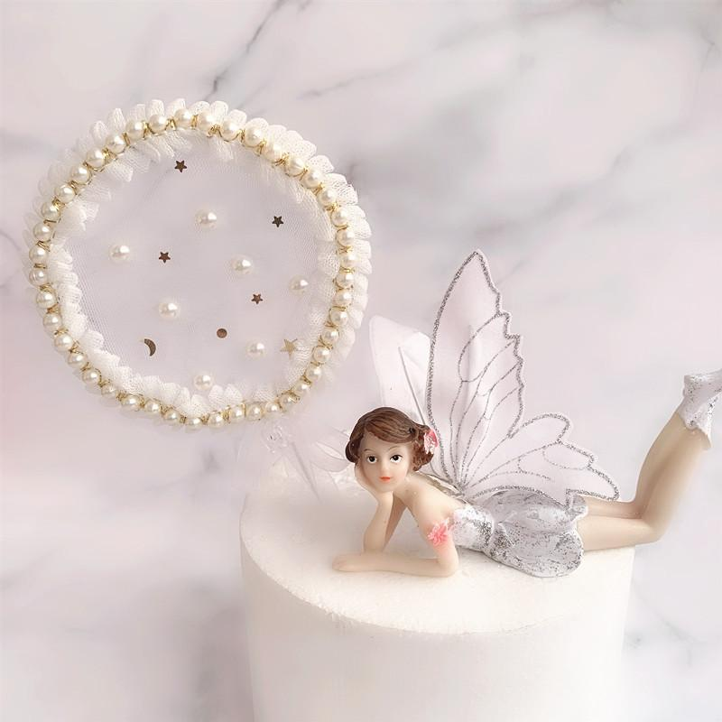 INS New Bow Pearl Cake Topper Lace Garland Wedding Cake Topper per le ragazze di nozze Decorazioni per feste di compleanno Baby Shower