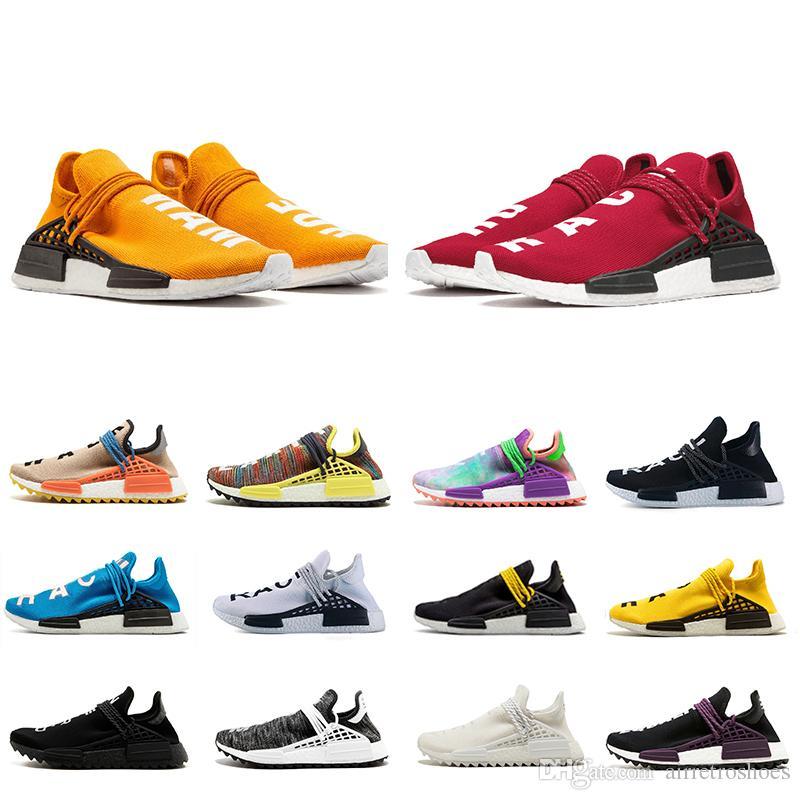 on sale 4f7a5 7216e Acheter Human Race Trail X Pharrell Boost Chaussure De Course Homme Pas  Cher Chaussures De Course Hommes Femmes Pharrell Williams HU Runner Jaune Noir  Blanc ...