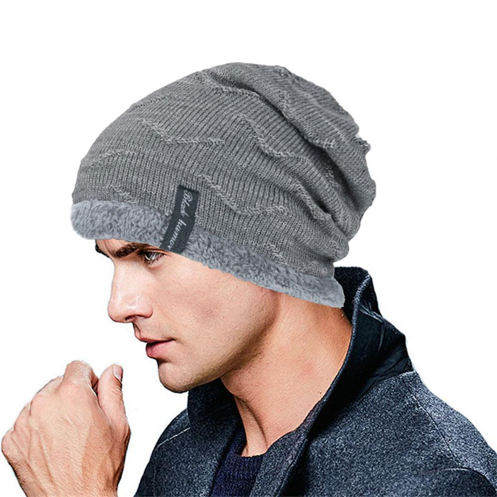c67e7ffdb fashion Winter Beanie Hat Warm Winter Knit Slouch Hats Cosy Fleece Liner  Cap Thick Caps for Men women Solid color wild male