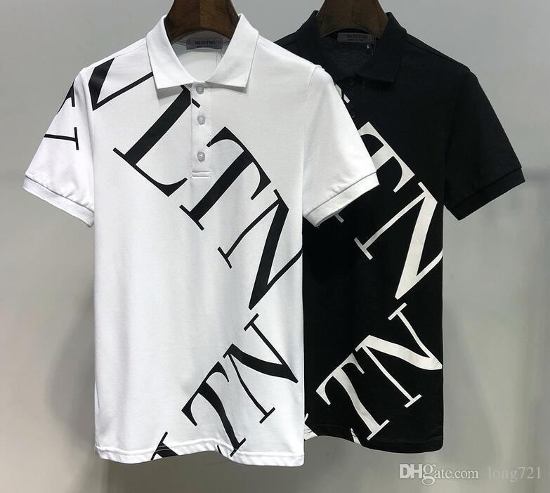 82ce16dec 2019 Summer Fashion New Arrived Men's Polo Lapel Neck Short Sleeve T-shirt  Print Valen Cotton Mens Casual Tee Shirts 6901