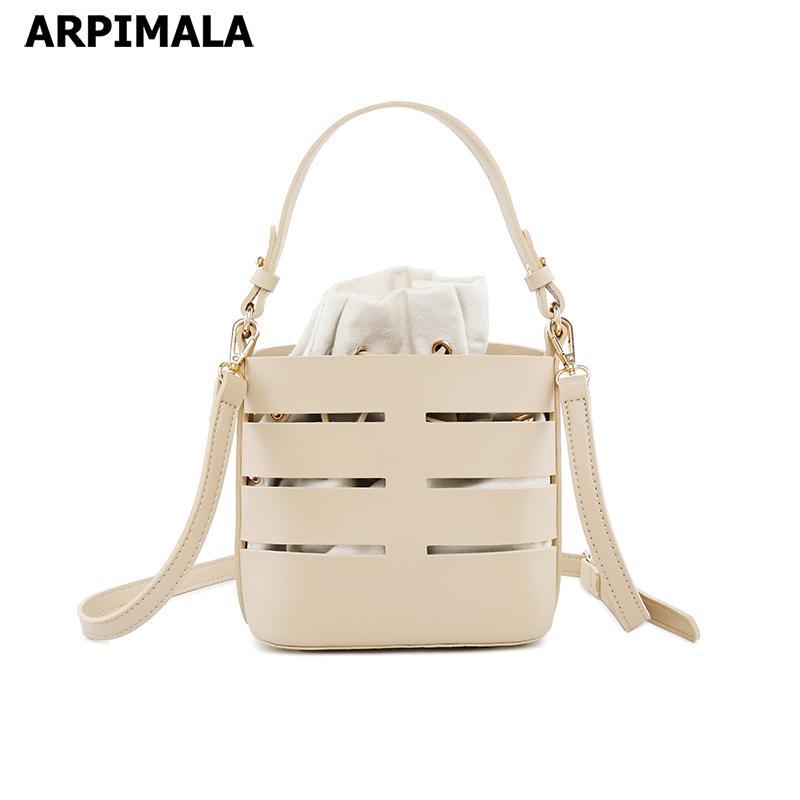 ARPIMALA 2019 Hollow Out Bucket Bags Drawstring Canvas Bag Women ... f8327c987dd3b