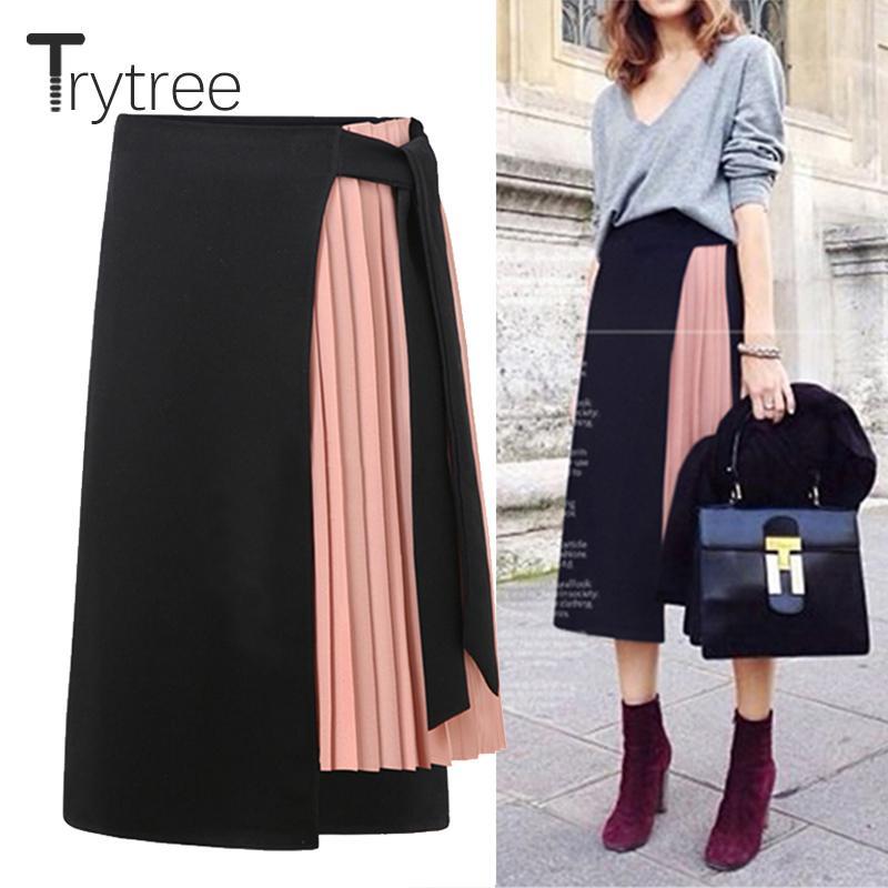 a0093df5dd Trytree Spring Summer Women Skirt Casual Polyester Chiffon Asymmetry High  Waist Zipper Skirt Fashion Streetwear Long Skirts Q190328 Sundress For Sale  Party ...