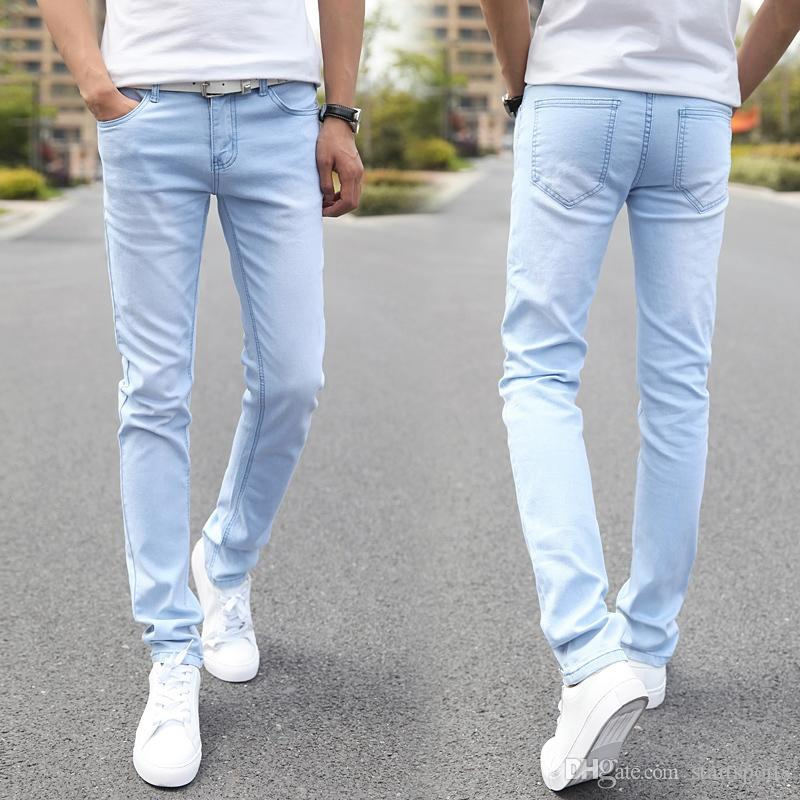 41887692 2019 Men Elastic Casual Straight Jeans 2016 New Mid Cowboy Pants Skinny  Blue Men Brand Jeans Stretch Hot Male Trousers 27 3 #347747 From  Startsports, ...