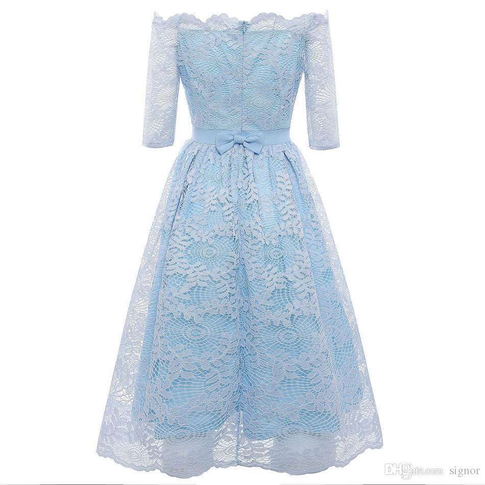 08fbe8fbc9ec9 Summer Sexy Lace Dress For Women Slash Neck Off ShoulderDress Slim Elegant  High Waist Dresses Dinner Party NB-150