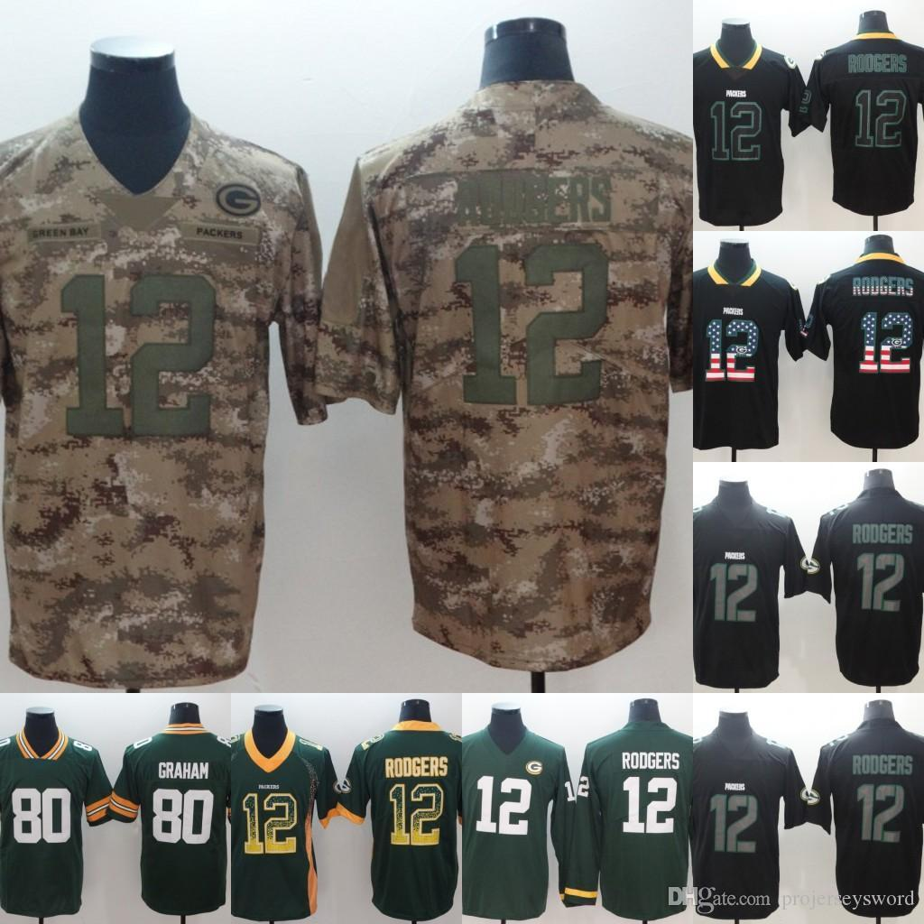 buy online 7af43 a023b Mens 12 Aaron Rodgers 80 Jimmy Graham Packers Camo Black Green Football  Jersey Fast Shipping Mens S-4XL