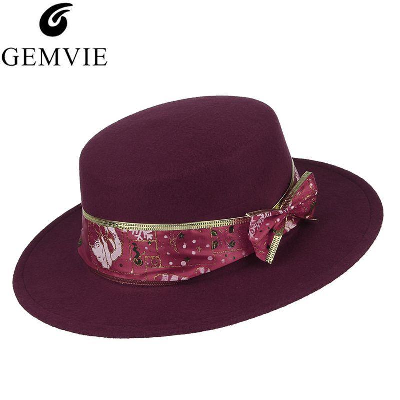 502ba3fe7c7db Christmas Elegant Fedoras For Women Lady Solid Color Wide Brim Jazz Cap  With Ribbon Christmas Party Hat Fashion Felt Hat Fedoras Cheap Fedoras  Christmas ...