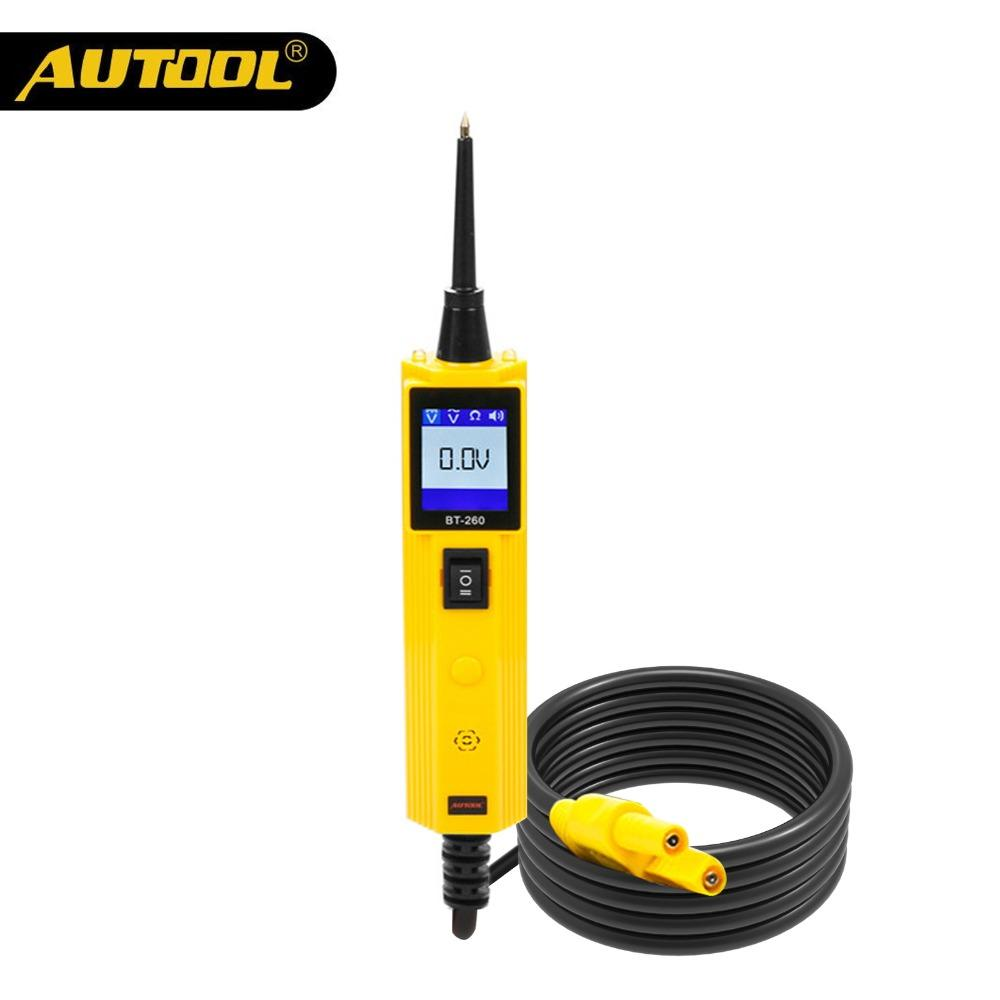 AUTOOL BT260 Car Circuit Tester Poder Probe Automotive Scanner Auto Elétrica LED de tensão Ferramentas de Diagnóstico Digital