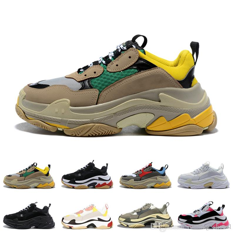 Triple S for men women sneakers pairs 17FW designer shoes black white red pink mens trainers fashion casual dad shoe increasing sneaker des