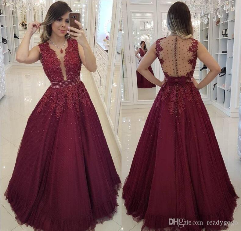 414c0e598 Compre 2019 Burdeos Cuello Redondo Una Línea De Tul Vestidos De ...
