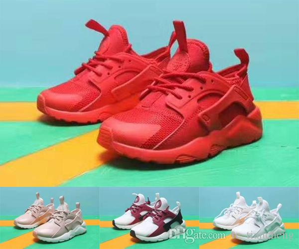 new concept 95a18 4682d 2019 Air Huarache 4.0 Kids Running Shoes Triple Red White Pink Boys Girls  Sneakers Huaraches Ultra IV Childrens Walking Shoes