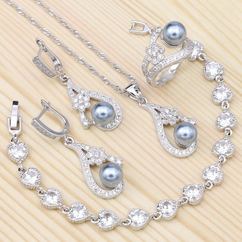 Flowers White Crystal Gray Imitation Pearls 925 Sterling Silver Jewelry Set For Women Bracelet/earrings/ring/pendant/necklace J 190513