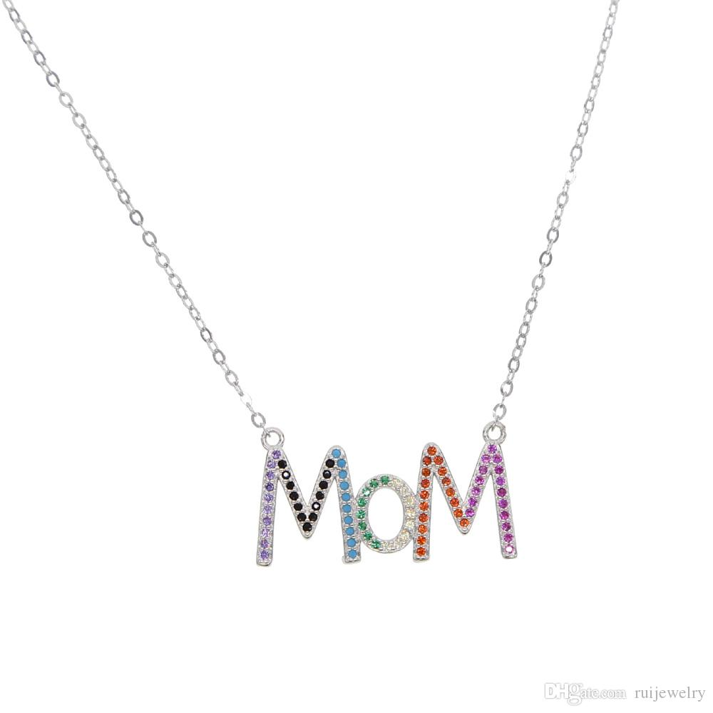 70aa00625 Mother's Day nice jewelry 2019 love gifts 100% 925 sterling silver letter  MOM pendent necklace for women with tiny rainbow cz